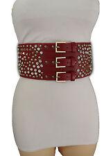 Women Wide Red Corset Belt Hip Elastic High Waist Spike Stud Bead 3 Buckles S M