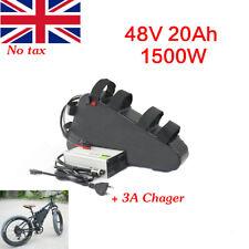 48V 20Ah Max 1500W Li-oin Lithium Triangle Electric Bike Battery 3A Charger