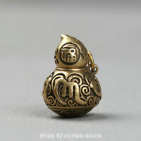 "1.1""Nepal Tibetan Buddhism Bronze Om Mani Padme Hum Fu Gourd Small Pendant 16.7g"