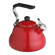 KitchenCraft - Le'Xpress New 2L Red Enamel Gas Stove Top Whistling Kettle
