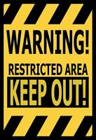 Warning! Restricted Area Letrero de Metal Arqueado Tin Sign 20 X 30CM