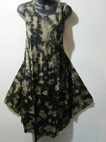 Dress Fits 1X 2X 3X Plus Sundress Long Tunic Black Gold Tie Dye A Shaped NWT 748