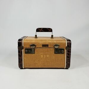 Vintage Tweed Train Travel Case Gold Brown Suitcase 1940's Antique Luggage