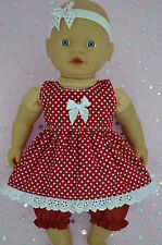 "PlaynWear Doll Clothes For 13"" Little Baby Born/Mommy DRESS~BLOOMERS~HEADBAND"