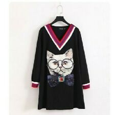Black Dress With Cat Patch And Blue, Red And White Trim
