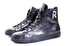 RAF SIMONS  Black Leather High Top Sneakers - Size 41 (EU) 7 (UK)