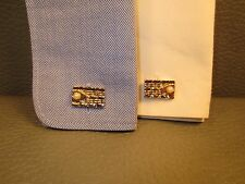 Brick Patterned Pearl Adorned Yellow Gold Plated Cuff Links