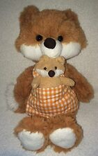 Animal Adventure Plush Mama Fox & Her Baby Gingham Plaid Apron Stuffed Toy 13""