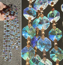 "35"" AB Aurora Borealis Rainbow Crystal Lamp Part Glass Chain Strand Wedding deco"