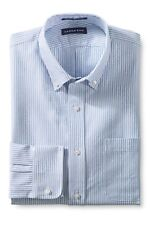 Lands' End Traditional Fit TALL 17.5x36 Supima Cotton LS Shirt White Blue Stripe