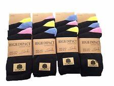Ladies Women's High Impact Black Coloured Toe Heel Cotton Rich Socks 6 Pairs