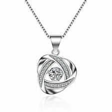 925 Sterling Silver Swinging Hyun Dance Zircon Rotate Pendant Necklace