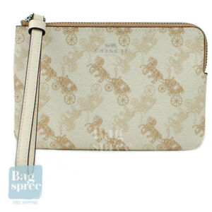Coach Corner Zip Wristlet with Horse and Carriage Print Cream Beige 88083 SVQB9