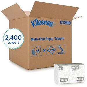 Kleenex Multifold Paper Towels (01890), White, 16 Packs/Case, 150 Tri Fold Paper
