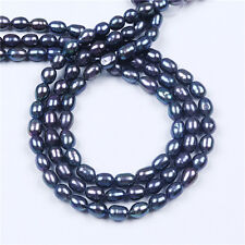 AA Wholesale 6-7mm Freshwater Black Rice Pearl Loose Beads 16''