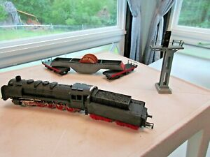 PIKO 50-001 Metal STEAM LOCOMOTIVE Diecast metal Cable Signal car Toy Lot
