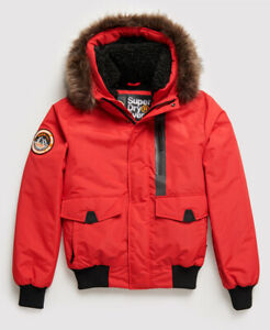 Superdry Mens SD Expedition Jacket Bomber Everest Deep Berry Red Quilted