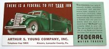 "Vintage Advertising Blotter ""Federal Motor Trucks"" Great Picture of Green Truck*"