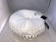 "J. Queen New York Astoria 15"" Round Tufted Decorative Pillow, WHITE, BRAND NEW"