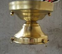 """Ceiling Light Fixture 4"""" or Antique 3 Chain Shade Holder, New clean waxed Brass"""