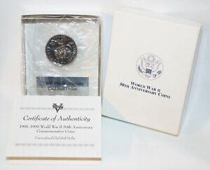 1991-1995 World War II 50th Anniversary Clad Half Dollar In Acrylic Paperweight