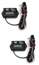 (2) Pack Tiny Tach 8' Cable Digital Hour Meter Tachometer Resettable Job Timer