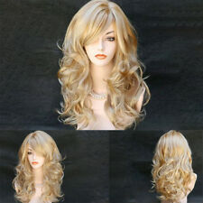 Golden strawberry Blonde mix Wig skin top Hair Wavy Hair Long Women Wavy E7CX