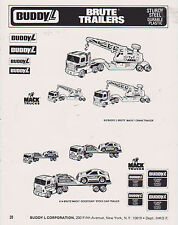 VINTAGE AD SHEET #2469 - 1980s BUDDY L TOYS - BRUTE TRAILERS - CRANE
