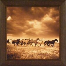 REMUDA #6 by Adam Jahiel FRAMED PRINT 30x30 Sepia Photography Horses Running