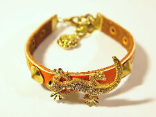 A Beautiful Geniune Leather Bracelet With Crystal Filled Lizard Charm,