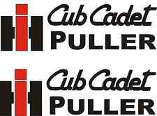 """IH CUB CADET PULLER DECALS -- STICKERS  4"""" X 14"""" EACH   RED & BLACK"""