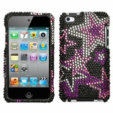 for iPod Touch 4th Gen - Pink Stars Bling Rhinestone Hard Protector Case Cover