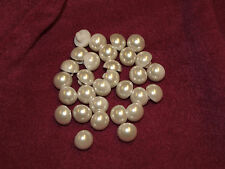 30TINY HALF PEARL SOFT WHITE / IVORY WEDDING CHRISTENING GOWN SHANK BUTTONS 12mm