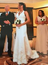 ❤ Stunning Wedding Dress With Crystals And Train Size Small Fit 10 Ivory £1,400