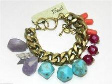 Fossil Bracelet Native Sun Brass Ox Tone Arrow Charms Multicolor Beads New! NWT