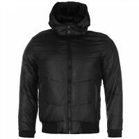 Lee Cooper Mens Black Duck Down Fleece Jacket Hooded Full Zip UK size S Small