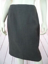 Ann Taylor Skirt 6 Dark Olive Green Heather Textured Wool Straight Back Slit HOT