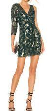 BCBG Max Azria Dress Metallic Wrap Size 0 Green Fern CAY65P01 Asymmetric Silk
