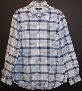 Polo Ralph Lauren Mens Blue Green Pink Plaid Button-Front Shirt NWT $89 Size M
