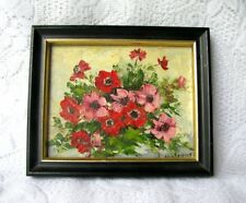 Antique Original Miniature Floral Oil Painting Signed J. Andrews Poppy Artwork