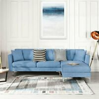 Blue Upholstered Linen Sectional Sofa Couch Modern L-Shape Sectional Couch
