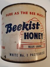 "RARE CANADIAN (TORONTO) ""BEEKIST HONEY - BLUE LABEL"" 4 LB. TIN WITH LID - EMPTY"