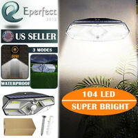 104 LED Solar Powered Lights Outdoor Waterproof Motion Sensor Lamp Garden Patio