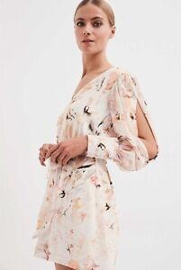 NEW Witchery Printed Floral Playsuit Jumpsuit Smokey Quartz Size 10 rrp $199.95