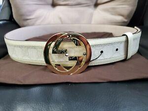 "NWT Authentic Gucci Belt White Signature Monogram GG 90m 30""-32"" Waist"