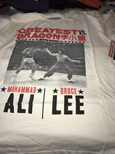 ROOTS OF FIGHT BRUCE LEE MUHAMMAD ALI WHITE T-SHIRT XXL 2XL
