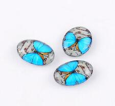 Lot de 10 Verre Cabochon 18x13 Mm Avec Papillon Bleu