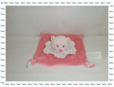 R - Doudou Semi Plat  Ours Rose Collerette Pois Kimbaloo