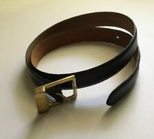 Vintage 1990s Black Leather Anne Klein Belt Sz L Made In Usa Gold Buckle