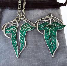 SPLIT Elven Leaf Brooch Necklace + SILVER VEIN Badge SET LOTR Lord of The Rings